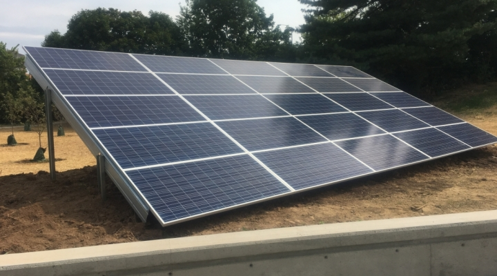 A 25 panel solar PV array is placed next to the Science Building